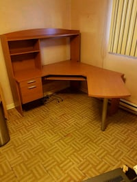 brown wooden computer desk with hutch Laval, H7W 2H3