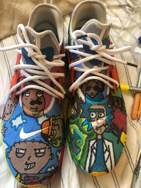 Custom made Nike reacts size 13 Rick and Morty and family guy edition  47964219-a1ba-4d28-bb03-60cb68fca9f5