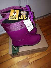pair of purple Thermal Rating snow boots with box