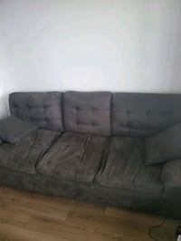 Dark grey faux suade sofa, like new!