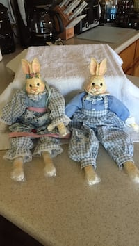 Two checked outfit rabbit dolls Whitestown, 13492