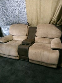 Double rocker recliner tan cloth and brown leather