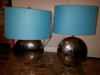 two blue and brown table lamps 3154 km