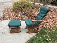 Rocker and footstool smooth glide. Wood. Needs a bit of TLC but good glide and quiet  Milton, L0P