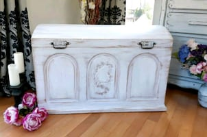 VINTAGE wood chest, shabby chic style