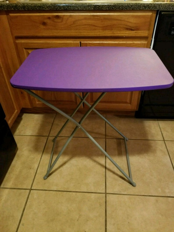Purple and gray folding table