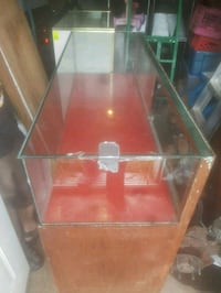 brown wooden framed glass-top display counter Trois-Rivières, G9A 5E1