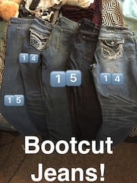 five assorted denim boot cut jeans