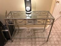 rectangular clear glass top table with black metal base 1 km
