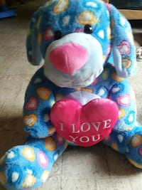 blue and pink heart print bear plush toy