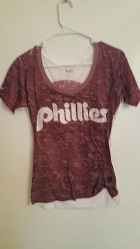women's red and white Phillies scoop neck t-shirt Titusville, 16354