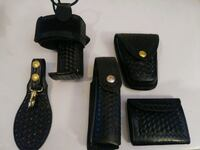 Stamped leather radio holder, 4 oz oc holder, key clip, cuff case! Pueblo, 81006