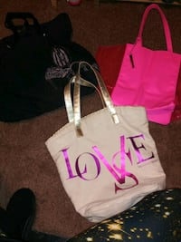 Three Victoria Secret pink love style tote bags Red Lion, 17356