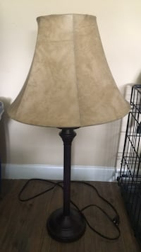 brown wooden base with white lampshade table lamp Yonkers, 10708