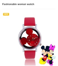 Red and silver-colored minnie mouse analog watch with red leather strap New Lexington, 43748