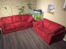 Red Microfiber Couch Set (delivery Available)