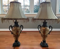 Two brown-and-white table lamps 20 km