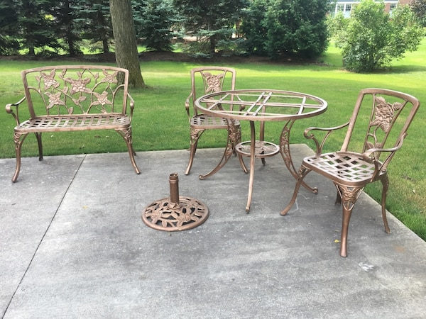 Amazing 7 Piece Heavy Duty Cast Aluminum Patio Set 4 Chairs Loveseat Table Need Replacement Top And Umbrella Base Download Free Architecture Designs Lukepmadebymaigaardcom