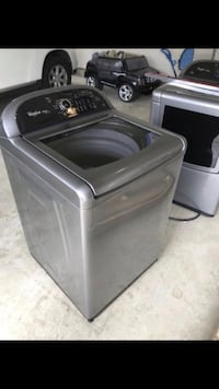 Gray top-load clothes washer.  Whirlpool washer and dryer like Lg, Samsung, kenmore, Maytag, General Electric, Electrolux, Sears, top loader washer SET Chantilly, 20152