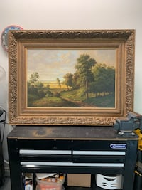 Canvas painting gold frame