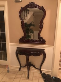 Solid wood mirror and table set excellent condition not a scratch Mississauga, L5M