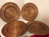 four brown wicker basket and plate Theodore, 36582