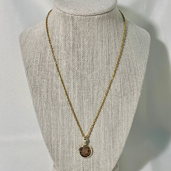 """14k Gold Roman Coin Pendant with 18"""" 14k Diamond Cut Rope Chain"""