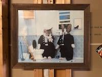 brown wooden framed painting of man and woman Indianapolis, 46228