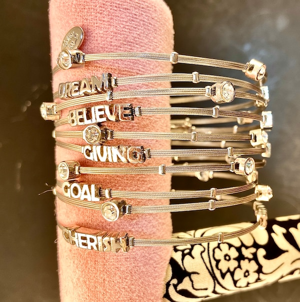 Cookie Lee Bangle Bracelets - Silver, Rhinestones, Inspirational Words fd6556c5-7686-47e4-ad20-9f8447db2f5c