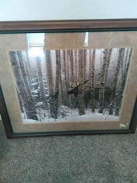 black wooden framed painting of a moose Hollister, 65672