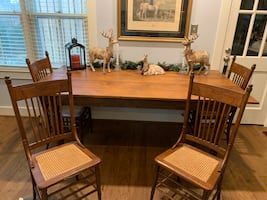 Dining table and 4 cane chairs