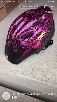 GIRLS youth helmet age 7-10 great condition London, N5W 1E8