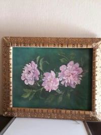 pink Peony flower painting with brown frame Cudahy, 90201