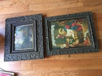 two brown wooden framed paintings 72 km