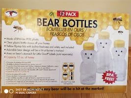 Honey Bear Clear Plastic Bottles - pack of 9