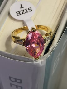 18k Gold Filled Engagement Ring With Pink Stone And Clear CZ Size 6,7,8