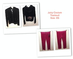 Juicy Couture Tracksuit, Cardigan, T-shirt and dress, from$15  Tracksuit......$100 each, or both set for $150  Cardigan......$25  T-shirt......$15  Dress......$35
