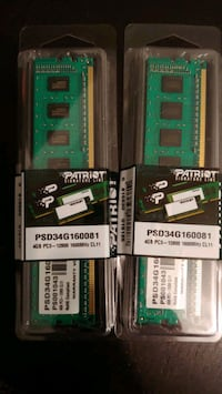 Patriot DDR 3 ram memory 4 gig x 2 sticks 1600 mhz Windsor, N9A 2J4