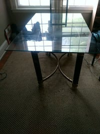 rectangular glass top table with black metal base Thomasville, 27360