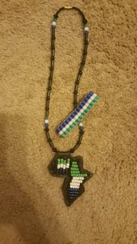 black and green beaded necklace