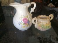 two white ceramic pitcher and pot Winder, 30680
