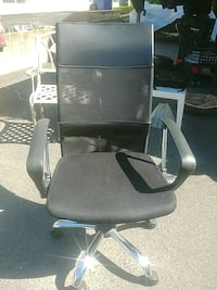 black leather padded rolling armchair Montreal, J4S