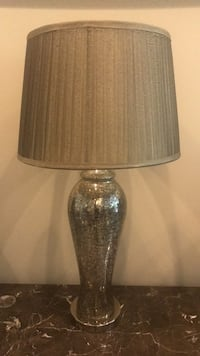 Clear glass table lamp with gold lampshade 19 mi