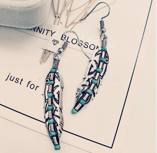 Retro Turquoise Feather Earrings Ancient Silver, Dual-Color Earrings. 300b054f-fed9-4787-ad05-65fc96a04400