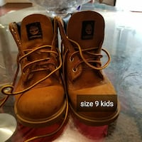 size 9 toddler's pair of brown Timberland work boots