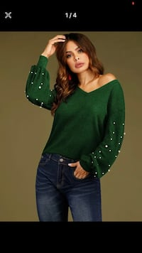 Size small green sweater with pearls