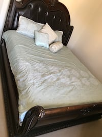 brown wooden bed frame with white bed sheet San Jose, 95138