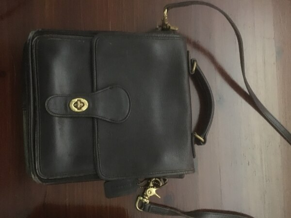 Used Coach black leather sling bag for sale in New York - letgo 39bcd1c890cb3