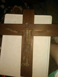 Wooden crucifix with Jesus made from railroad ties Wichita, 67208