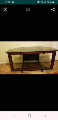 rectangular brown wooden frame glass top coffee table Tucson, 85713